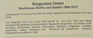Kingsclere Union, Workhouse Births and Deaths 1866 – 1913