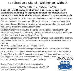 Wokingham, St Sebastian's, Monumental Inscriptions, Update from Version 1 (CD)