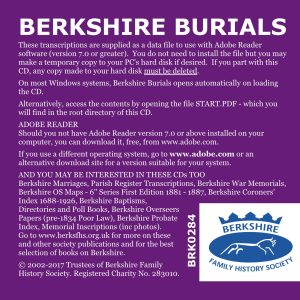Berkshire Burials, 12th Edition, Update from 10th ed (CD) BFHS