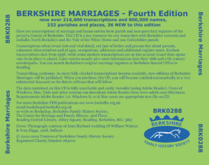 Berkshire Marriages, Fourth Edition, Update from 1st Edition (CD)