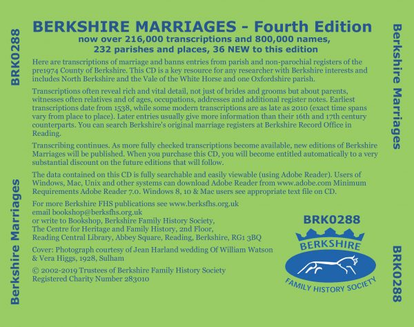 Berkshire Marriages rear