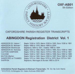Abingdon Registration District, Parish Registers Vol. 1 OXF-AB 01 (CD) OFHS