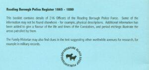 Reading Borough Police Register 1865-1880