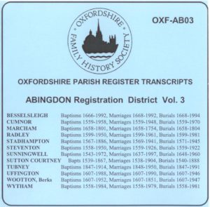 Abingdon Registration District, Parish Registers Vol. 3 OXF-AB 03 (CD) OFHS
