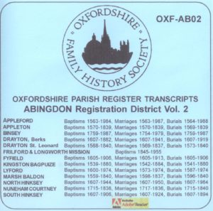 Abingdon Registration District, Parish Registers Vol. 2 OXF-AB 02 (CD) OFHS