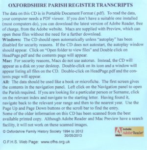 Faringdon Registration District, Parish Registers OXF-FAR-02 (CD) OFHS