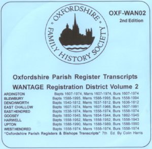 Wantage Registration District, Parish Registers, Vol 2  (CD)