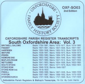 South Oxfordshire Area, Parish Registers, Vol 3 (CD)