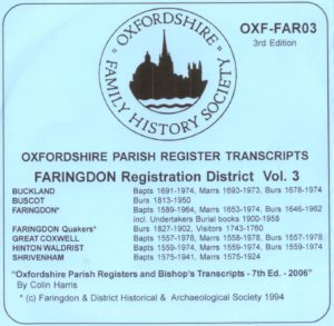 Faringdon Registration District, Parish Registers OXF-FAR 03 (CD) OFHS