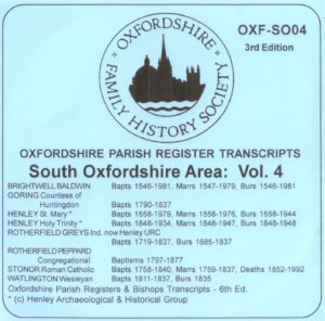 South Oxfordshire Area, Parish Registers, Vol 4 (CD)