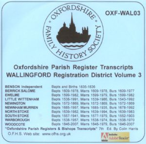 Wallingford Registration District, Parish Registers, Vol 3 (CD)