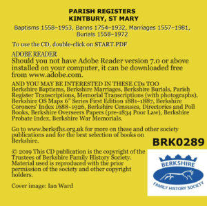 Kintbury, St Mary, Parish Registers (CD) BFHS