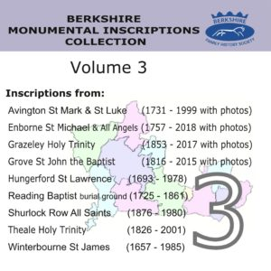Berkshire Monumental Inscriptions Collection, Vol. 3 (CD)