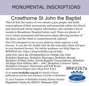 Crowthorne, St John, Monumental Inscriptions 1863-2019 (CD)