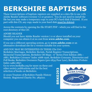 Berkshire Baptisms 3rd Edition (CD)