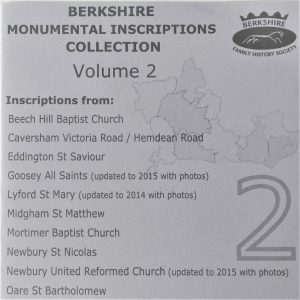 Berkshire Monumental Inscriptions Collection, Vol. 2 (CD)