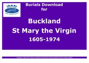 Buckland St Mary the Virgin Burials 1605-1974 (Download) D1043