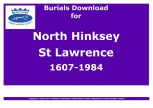 Hinksey North St Lawrence Burials 1607-1984 (Download) D1155