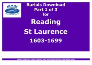 Reading St Laurence Burials 1603-1699 (Download) D1332  (Part 1 of 3)