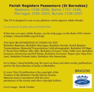 Peasemore, St Barnabas Parish Registers